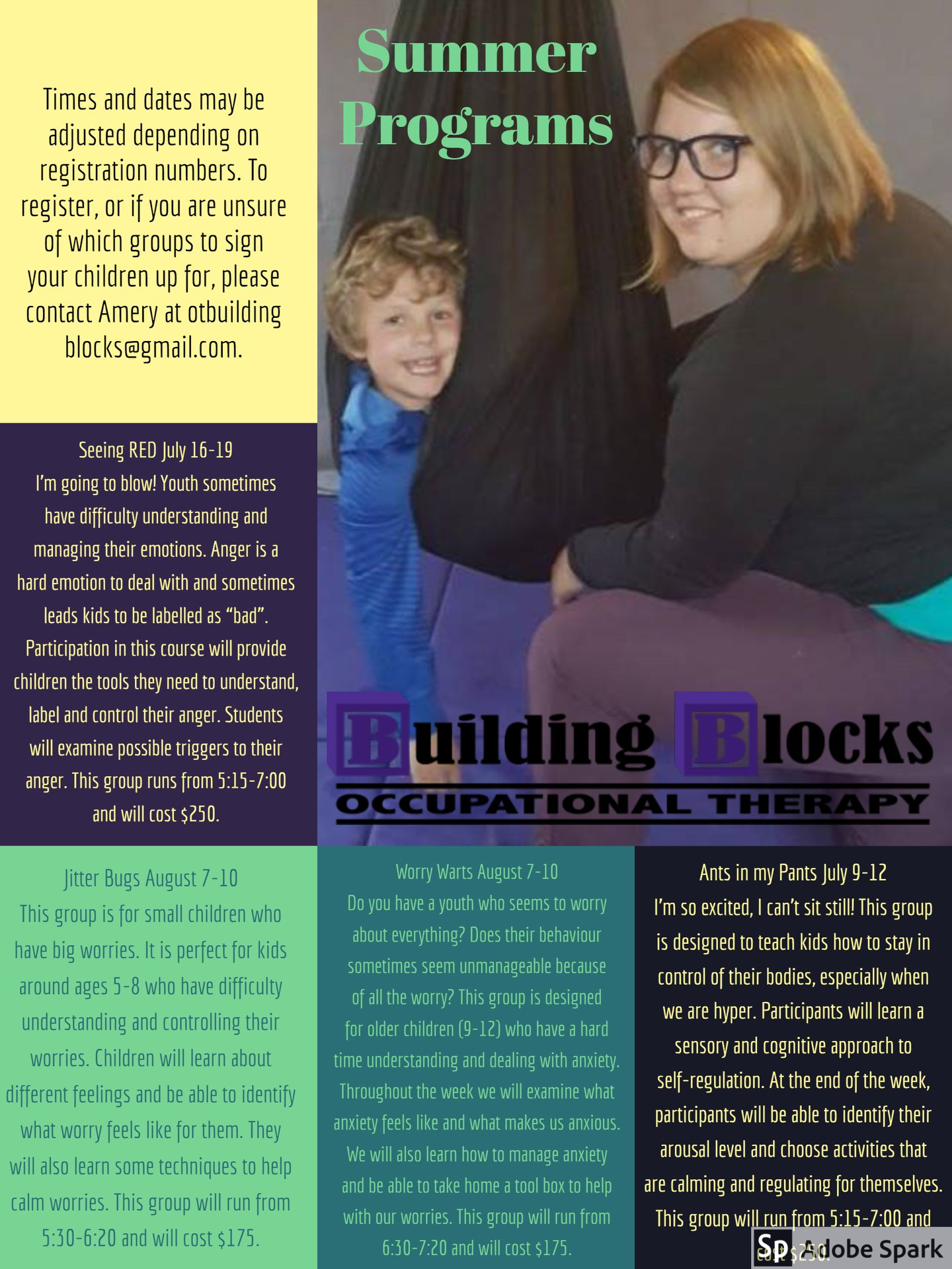 Building Blocks Occupational Therapy Summer Camp Schedule 2018