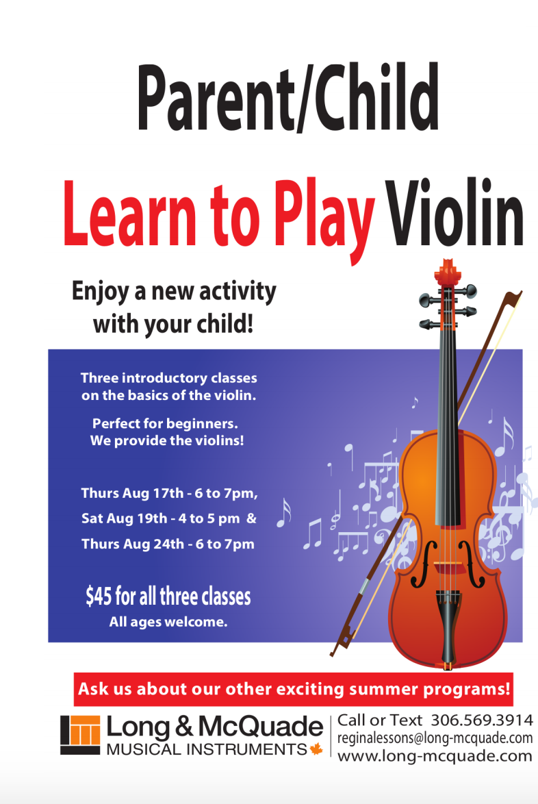 Parent Child Learn to Play Violin - August 24, 2017 - Regina SK